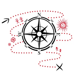 Compass hiking map vector image