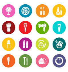 Cosmetics icons set colorful circles vector
