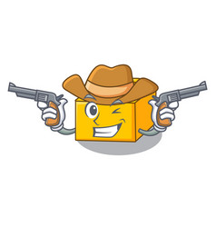 Cowboy plastic building blocks cartoon on toy vector