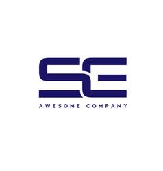 creative letter se logo design elements vector image