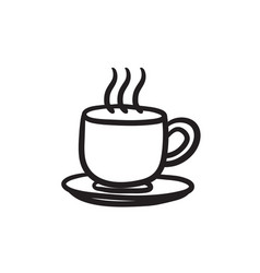 Cup of hot drink sketch icon vector