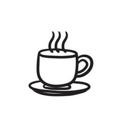 Cup of hot drink sketch icon vector
