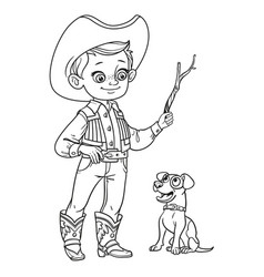 Cute boy in cowboy costume play with dog outlined vector