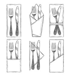 Cutlery on napkins set sketch vector