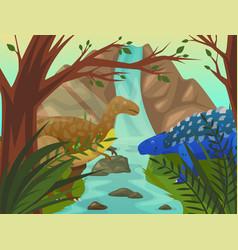 dinosaur velociraptor and stegosaurus at nature vector image