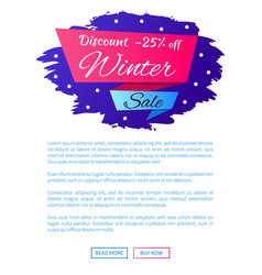 Discount - 25 winter sale web poster label design vector