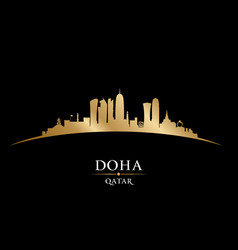 doha qatar city skyline silhouette black vector image