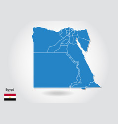 egypt map design with 3d style blue egypt map and vector image