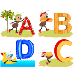 English abc alphabet for children insect ant vector