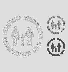 family diagram mesh wire frame model and vector image