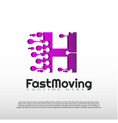 Fast moving logo with initial h letter concept vector