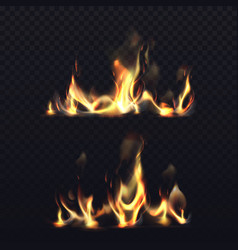 fire flame realistic long fire burning vector image