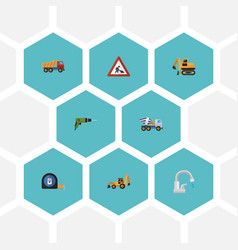 flat icons faucet excavator roll meter and other vector image
