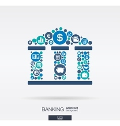 flat icons in a bank building shape banking vector image
