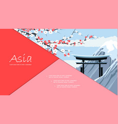 flat travel to japan composition vector image