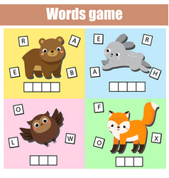 Forest animals write missing letters and complete vector