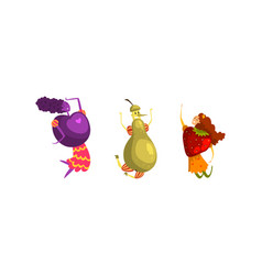 funny ripe fruit and berries as humanized comic vector image