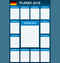 German planner blank for 2018 scheduler agenda or vector