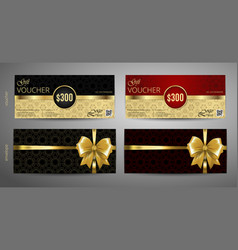 Gift voucher set red and gold voucher template vector