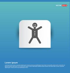 gingerbread icon - blue sticker button vector image