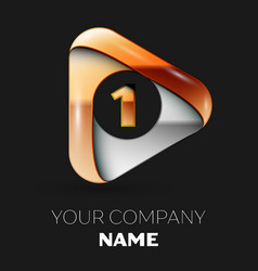 Golden number one logo in golden-silver triangle vector