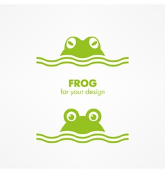 green frog head vector image