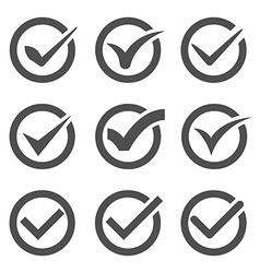 Grey check marks or ticks in circles vector