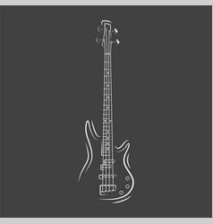 Guitar silhouette isolated on a black background vector