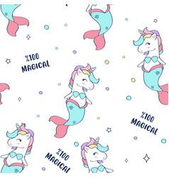 hand drawn mermaid-unicorn elements seamless vector image