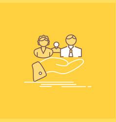 insurance health family life hand flat line vector image