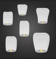 Isolated chinese flying sky lanterns vector