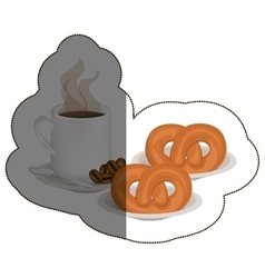 Isolated pretzel and coffee mug design vector