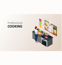 Isometric cooking school blog woman chef cooking vector