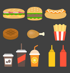 Junk food icon flat design vector
