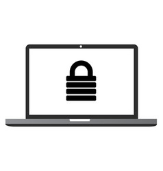 laptop screen icon with lock icon inside is isolat vector image
