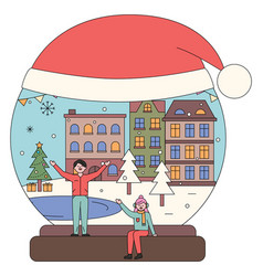 man and woman walking in city christmas snowball vector image