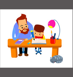 man helping young boy doing homework and smiling vector image