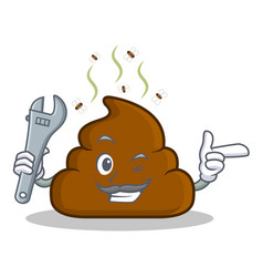 mechanic poop emoticon character cartoon vector image