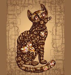 mechanical cat hand drawn vector image