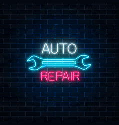 Neon auto repair shop sign on dark brick wall vector