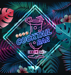 Neon sign cocktail bar on tropic background vector