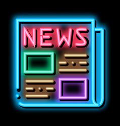 News newspaper neon glow icon vector