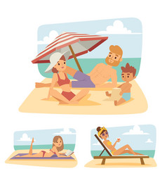 People on beach outdoors summer lifestyle vector