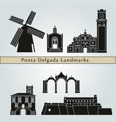 ponta delgada landmarks vector image