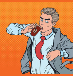 Pop art man with coffee hurry up to office vector