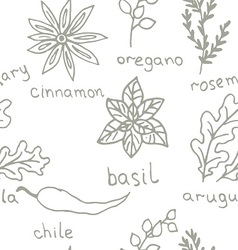 Seamless Doodle patterns herbs vector