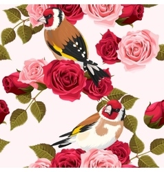 Seamless goldfinch and roses vector image