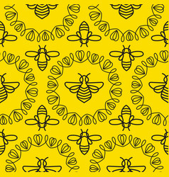 Seamless pattern with bee vector