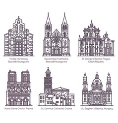 set isolated cathedrals and church basilica vector image
