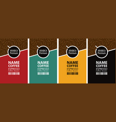 Set of labels for coffee beans vector